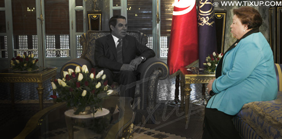 Saïda Agrebi et Zine El Abidine Ben Ali, président déchu de la Tunisie
