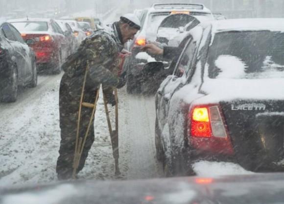 Tempête de neige à Kiev
