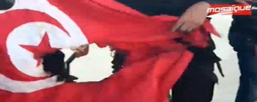 Le drapeau Tunisien brûlé à cité Ettadhamen