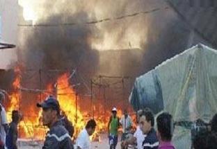incendie dans le souk des teinturiers dit Sabaghine au centre de Tunis