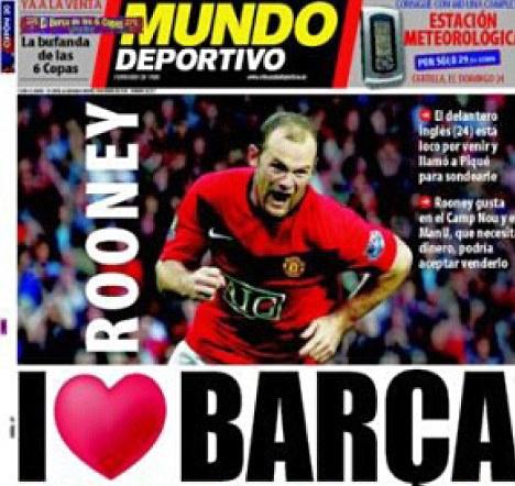 Le quotidien espagnol Mundo Deportivo relatant la possible venue de Rooney à Barcelone
