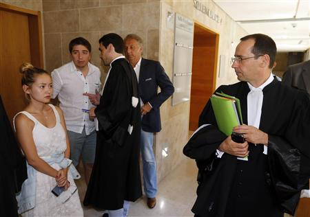 Madina, the daughter of dissident Kazakh oligarch Mukhtar Ablyazov, her husband Elias, and lawyer Bruno Rebstock are seen after a hearing at the Aix-en-Provence courthouse