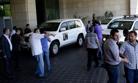 Le haut représentant de l'ONU pour les affaires de désarmement, Angela Kane, arrive dans un hôtel à Damas, en Syrie, le 24 Août 2013.