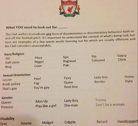 Guide d'insultes du club de LIverpool