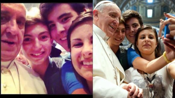 Le pape François entouré de jeunes chrétiens à saint-Augustin à Rome le 28 août 2013 (photo de gauche AFP, photo de droite postée sur Facebook par l'un des jeunes) / Crédits : Montage: MYTF1News / Photos: AFP et Facebook