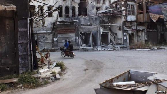 Deux ans et demi de combats ont laissé leur marque sur la Syrie, comme cette photo de la partie de la ville assiégée de Homs