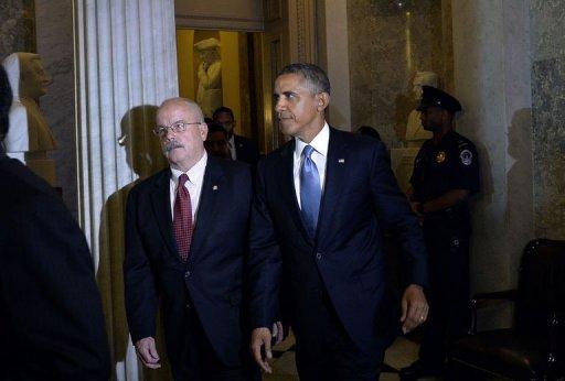 Le président américain Barack Obama arrive à une réunion avec les dirigeants républicains au Capitole le 10 Septembre 2013, à Washington.