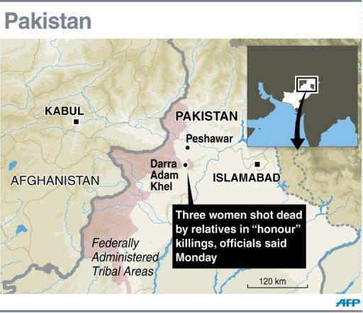 Carte graphique montrant Darra Adam Khel dans la zone tribale du Pakistan où des parents ont abattu trois femmes dans des meurtres «d'honneur», selon des responsables lundi.