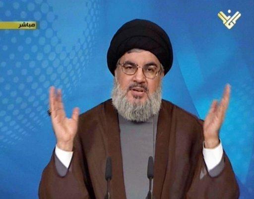 Un grab d'image d'Al-Manar du Hezbollah Hassan Nasrallah montre, chef du Hezbollah, le 23 Septembre 2013, à Liban.