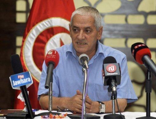 Houcine Abbassi, secrétaire général de l'Union générale tunisienne du travail (UGTT), prend la parole lors d'une réunion du comité administratif de l'UGTT à Tunis le 29 Juillet 2013