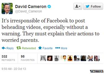 Facebook a commencé à ajouter des signes d'alerte suite aux critiques du Premier ministre David Cameron