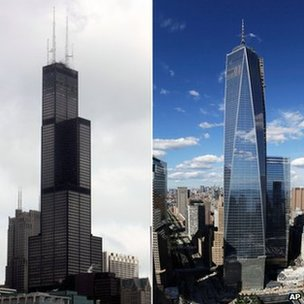 La Willis Tower (à gauche) a perdu le titre de plus haut bâtiment de l'US face au One World Trade Center