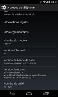 Android 4.4.2, ici installé sur un Nexus 4
