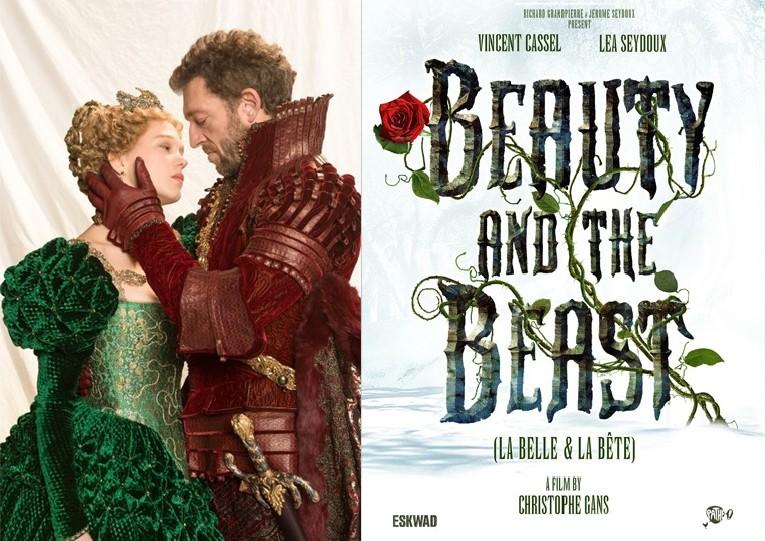 """Affiche du film """"la belle et la bête"""" avec Léa Seydoux et Vincent Cassel"""