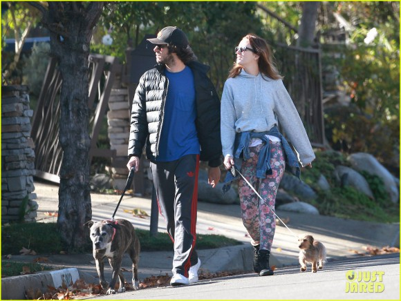 Exclusive... Adam Brody & Leighton Meester Take Their Dogs Out For A Morning Walk