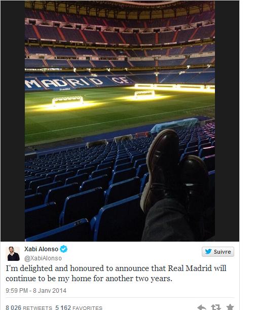 Le tweet de Xabi Alonso après avoir prolongé son contrat avec le Real Madrid