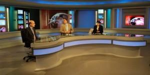 Alain Juppé sur le plateau de la télévision tunisienne nationale