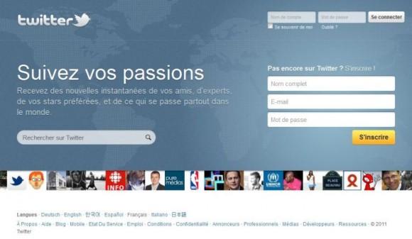 Nouvelle page d'accueil du site Twitter.com