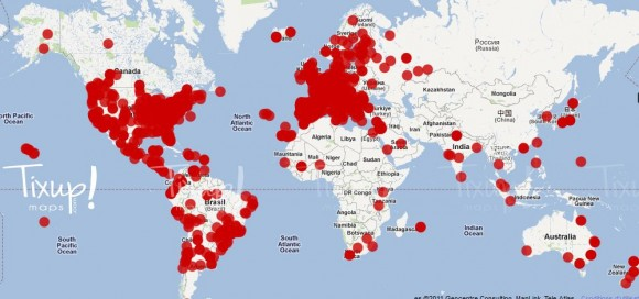 Carte des révoltes dans le monde - Mouvement des indignés