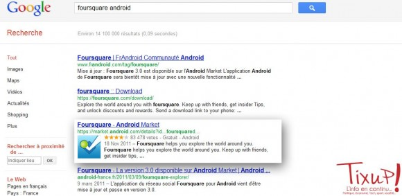 Google: Applications mobiles dans les rsultats de recherche